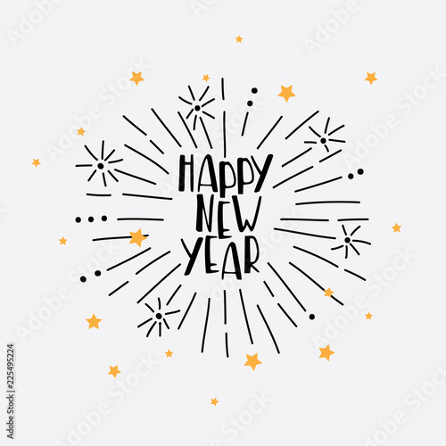 Fotografie, Obraz  Hand Drawn Happy New Year Greeting Card with vector firework