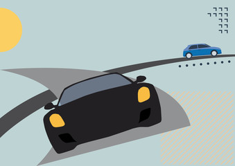 Car racing on the road. Vector poster background in retro style