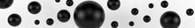 Closeup Top View Group Of Assorted Industrial Ceramic Black Balls On White Background. 3d Render