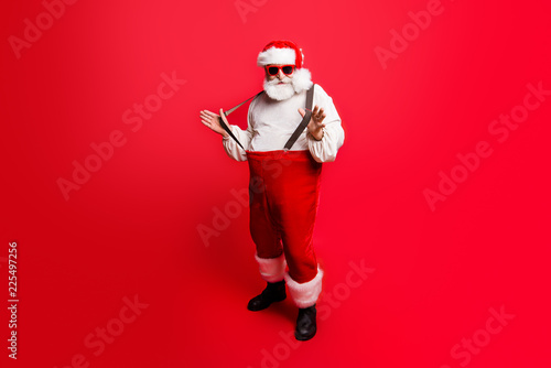 Photo  Full length body size of cheerful positive optimistic glad Santa