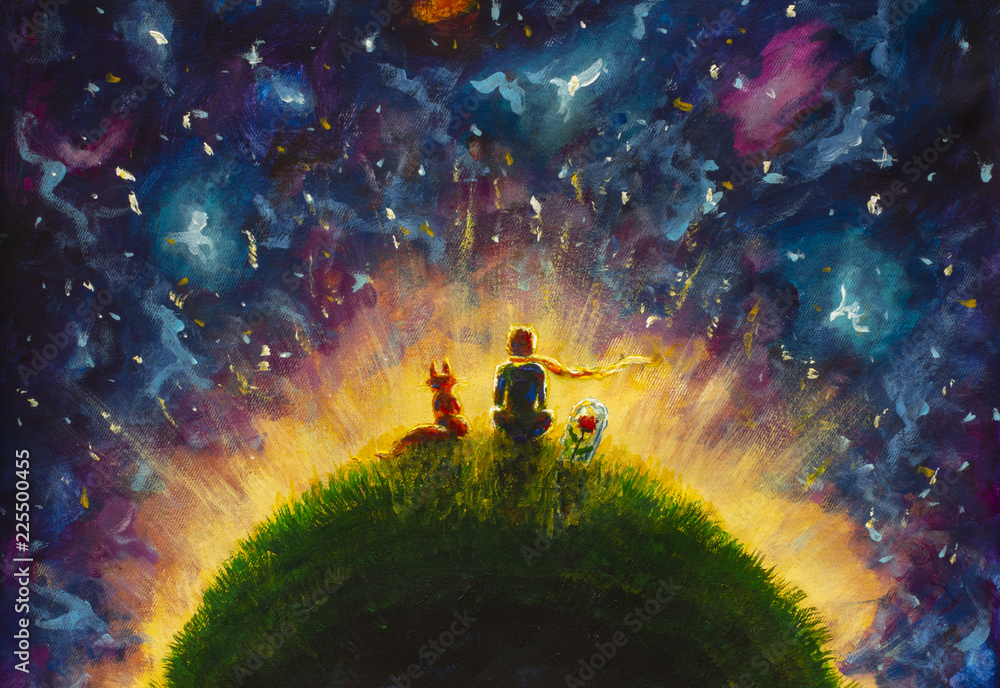 Fototapety, obrazy: Original oil painting Little prince and fox and Red Rose sitting on grass under starry sky. Colorful illustration.