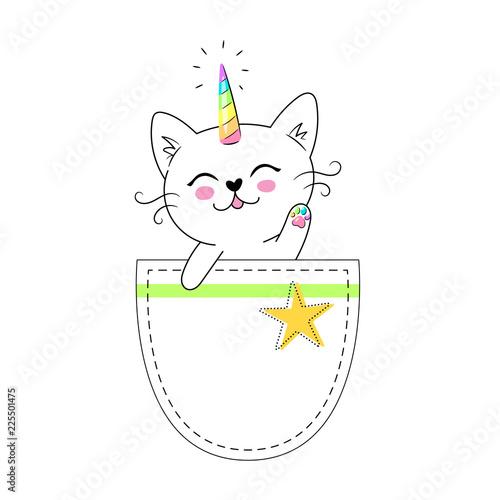 Fotografía kids t-shirt design, print or poster with cute cat, caticorn, unicorn sitting in