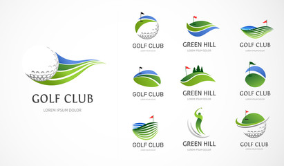 Fototapeta Golf club icons, symbols, elements and logo collection