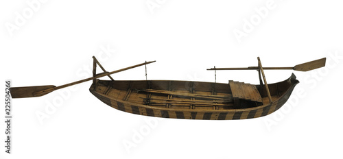 In de dag Schip Wooden ancient old small ship model isolated on white background