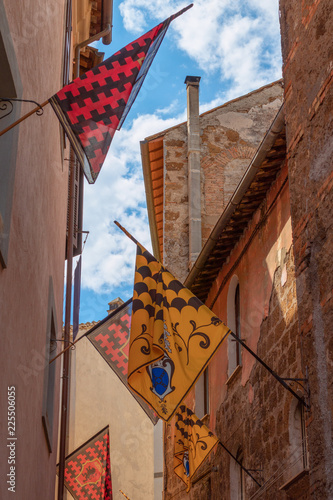 Fototapety, obrazy: Orte, Umbria, Italy. A narrow street of the town decorated with traditional medieval flags on the city day