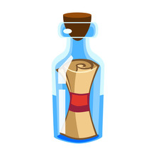 Cartoon Vector Message In A Bottle