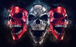 canvas print picture - Screaming metal demon skulls - neo thrash style - 3D Illustration