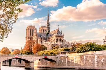Paris in Autumn, landscape with the Notre-Dame