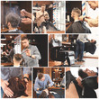 Professional barber working with client in hairdressing salon. Set of services