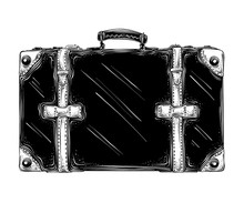 Hand Drawn Sketch Of Retro Suitcase In Black Isolated On White Background. Detailed Vintage Style Drawing. Vector Illustration