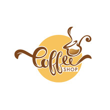 Sweet Coffee Logo Template Design, Vector Hand Drawn Illustration With Lettering Composition