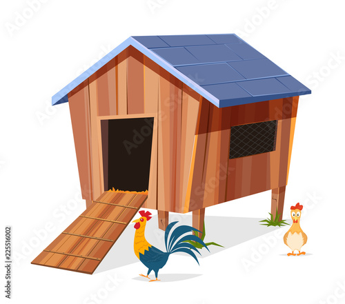 Fotografia Chicken coop with hen and rooster