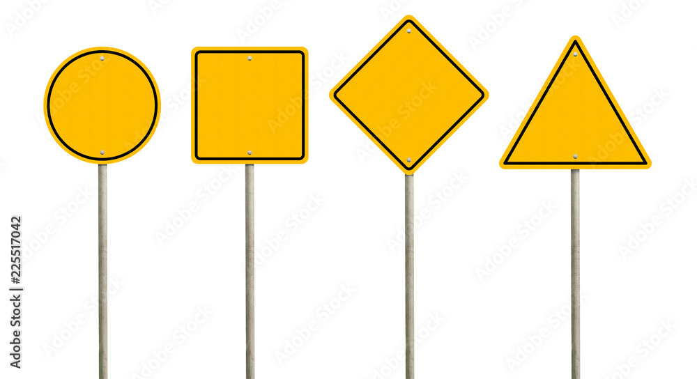 Fototapeta Collection of blank yellow road sign or Empty traffic signs isolated on white background. Objects clipping path