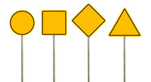 Collection Of Blank Yellow Road Sign Or Empty Traffic Signs Isolated On White Background. Objects Clipping Path