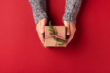 Female's Hands In Pullover Holding Christmas Gift Box Decorated With Evergreen Branch On Red Background. Christmas And New Year Concept.