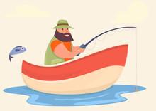 Fisherman Fishing On The Boat
