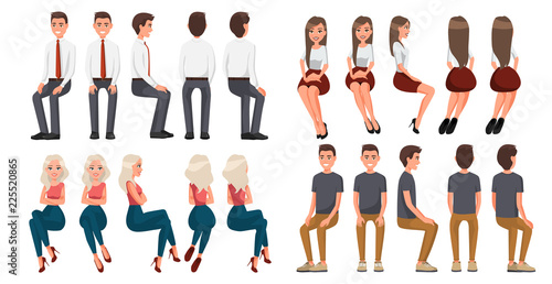 Obraz Big set of sitting people. Men in casual clothes and official clothes, woman in red skirt and a white blouse, woman in casual clothes . Cartoon realistic people. Flat young man. Front view, Side view - fototapety do salonu