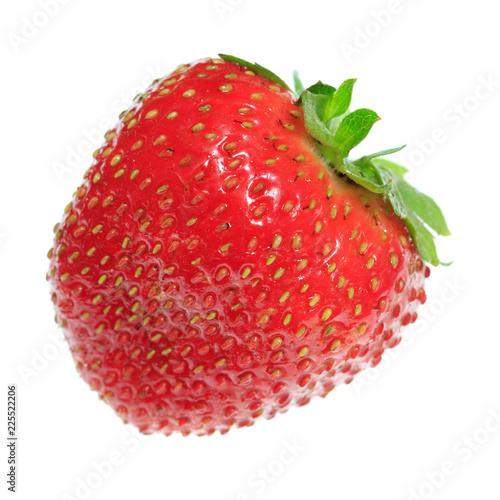 Foto op Aluminium Vruchten One ripe strawberry on a white background