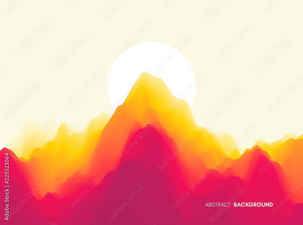 Fototapeta Landscape with mountains and sun. Sunset. Mountainous terrain. Abstract background. Vector illustration.