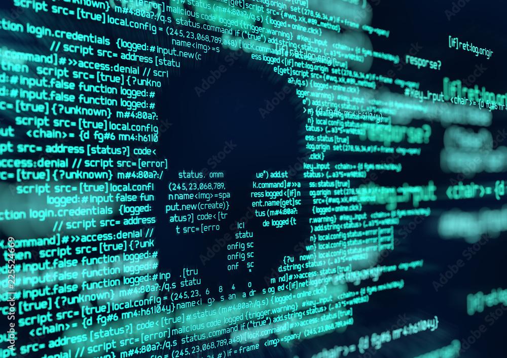 Fototapeta Hacking and Virus Attack Computer Code Background