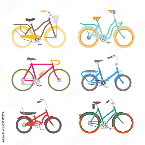 Cuadros en Lienzo Vector bicycles set in flat style isolated on white