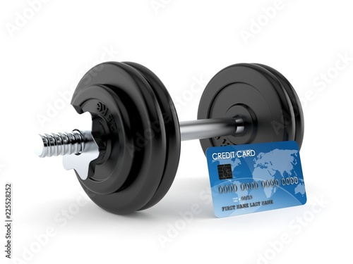 Fotografia  Dumbbell with credit card