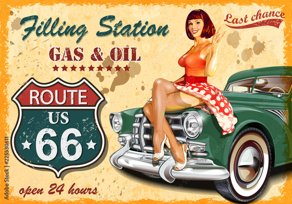 Fototapety, obrazy: Filling station retro poster