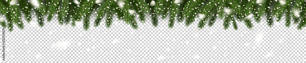 Fotografie, Obraz Fir branches and snowflakes on checkered background
