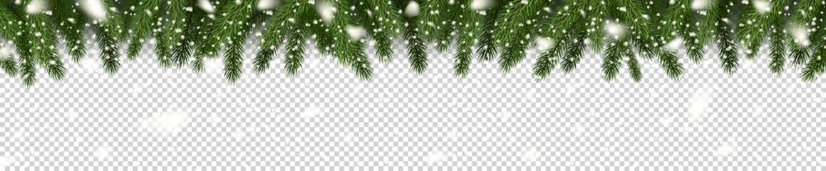 Fir branches and snowflakes on checkered background. Spruce branches. Christmas tree branches. Can be used on any background. Vector illustration