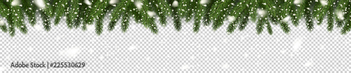 Fotografie, Tablou Fir branches and snowflakes on checkered background