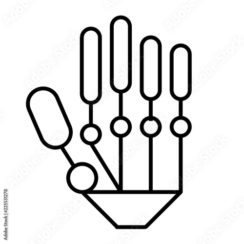 Mechanical hand thin line icon  Modern robot hand vector