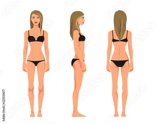 Cuadros en Lienzo Vector illustration of three girl in underwear on the white background