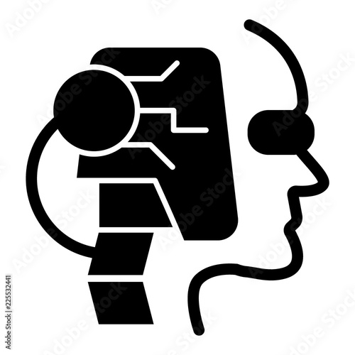 Robot head solid icon  Face of android vector illustration