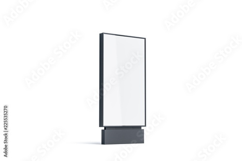 Fototapeta Blank white pylon mockup, side view, isolated, 3d rendering