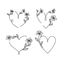 Vector Of Hand Drawn Heart And Flower Doodles Ornamental