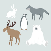 Set Of Wild Winter Animals And Bird. Cute Polar Bear, Moose, Wolf, Hare, Rabbit And Penguin. Christmas Nordic Design. Vector Illustrations, Isolated Graphic Objects.