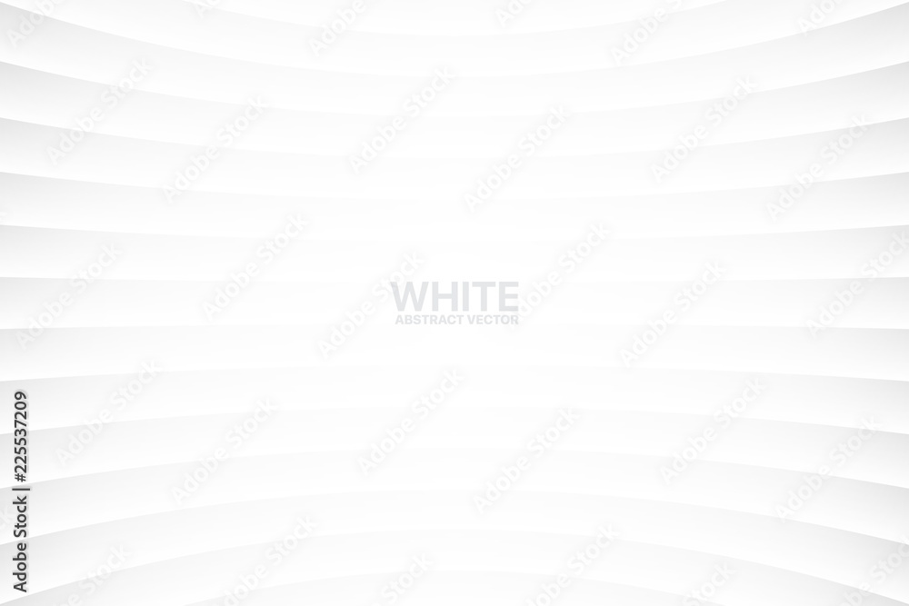 Fototapety, obrazy: White Clear Blank Subtle Abstract Vector Geometrical Background. Monotone Light Empty Concave Surface. Minimalist Style Wallpaper. Futuristic 3D Illustration