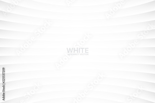 Fototapeta White Clear Blank Subtle Abstract Vector Geometrical Background. Monotone Light Empty Concave Surface. Minimalist Style Wallpaper. Futuristic 3D Illustration obraz