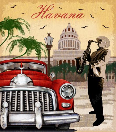 Obraz oldtimer  havana-retro-poster