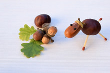 Animal Figurine Made Of Chestnuts And Acorns