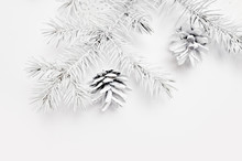 Mockup Christmas White Tree And Cone. Flat Lay On A White Wooden Background, With Place For Your Text. Top View