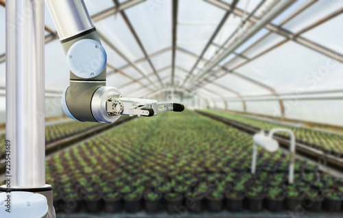 Aufkleber - The robot arm is working in a greenhouse. Smart farming and digital agriculture