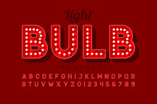 Vintage Light Bulb Font Design...