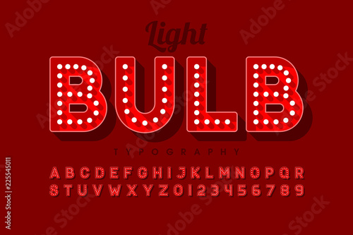 Vintage light bulb font design, Broadway style alphabet letters and numbers Wallpaper Mural