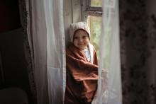 Toddler Baby Girl In Bonnet On...