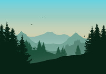 Vector Illustration Of Landscape With Mountains And Coniferous Forest, Deer And Flying Birds Under Green Morning Sky