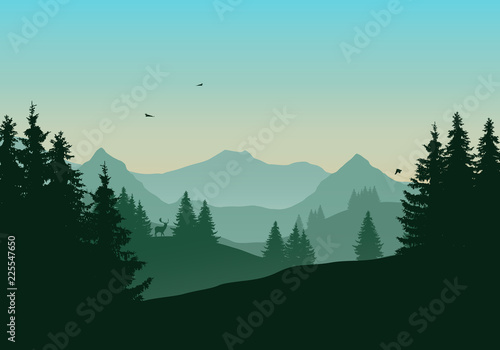Aluminium Prints Vector illustration of landscape with mountains and coniferous forest, deer and flying birds under green morning sky