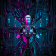 canvas print picture - The quantum zen queen / 3D illustration of female android hardwired to computer core