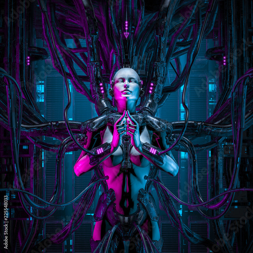 The quantum zen queen / 3D illustration of female android hardwired to computer Canvas Print