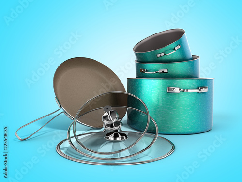 Fotografía  set of crockery green pots and frying pan with stone sprayed 3d render on blue b